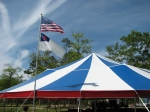 Our red, white and blue tent